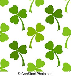 Green clover leaves seamless pattern - Clover leaves vector...