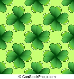 Green clover leaves seamless pattern