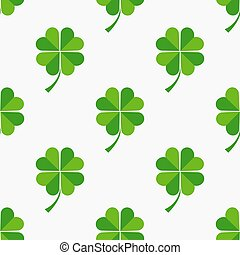 Green clover leaves seamless pattern.