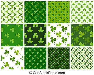 Green clover leaves seamless patterns set