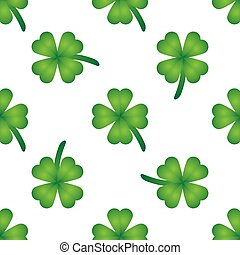 Green clover seamless background. Vector illustration
