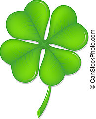 Green Clover, Symbol St. Patrick's Day, Isolated On White Background, Vector Illustration