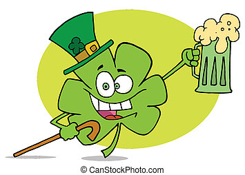 Green Clover With Beer - Shamrock Character In A Green Hat,...