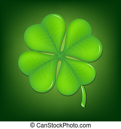 Green Clover With Gradient Mesh, Vector Illustration