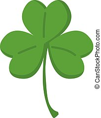 Green clover with three leafs vector illustration on white background.
