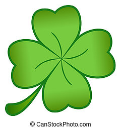 Green cloverleaf - A green cloverleaf isolated on a white ...