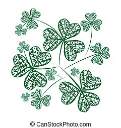 Clovers background - Green Clovers background on simple ...