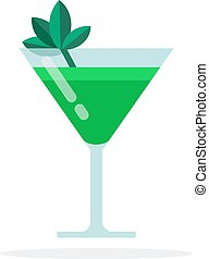 Green cocktail vector flat material design isolated object on white background.