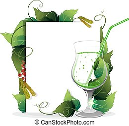 Green cocktail with leaves