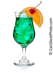 Green cocktail with orange and maraschino