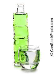 Green cocktails bottle