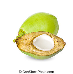Green coconut an isolated on white background.