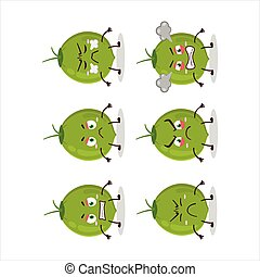 Green coconut cartoon character with various angry expressions