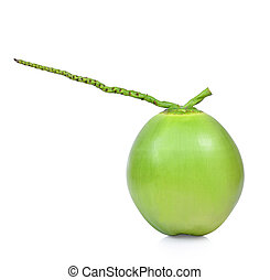 Green coconut isolated on white