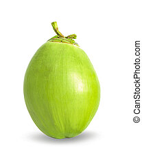 Green coconut on the white background