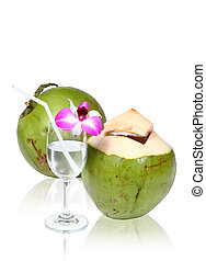 Green coconuts with drinking straw clipping path.