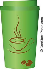 Green coffee cup, vector