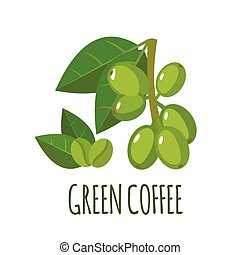 Green coffee icon in flat style