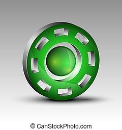 Green cog futuristic logo