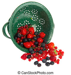 Green colander with fruit