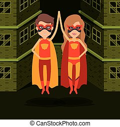 green color background buildings brick facade with colorful superhero couple with clashing hands vector illustration