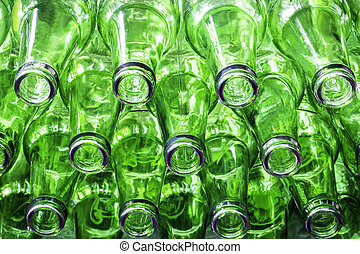 Green color bottles - Closeup stack of green color bottles ...