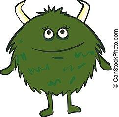 Green color monster, vector or color illustration.