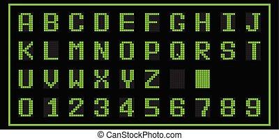 Green color of LED digital font on black background (Vector)