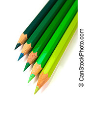 An assortment of green color pencils on white background