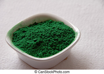 green color powder for holi festival in India