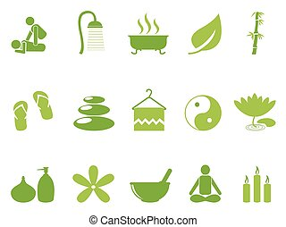 green color spa icons set