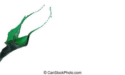 green color splash slow motion. colored oil