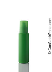 Green color spray bottle isolated on white background.