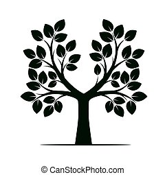 Green Color Tree. Vector Illustration.