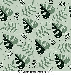 Green color tropical leaves seamless pattern.