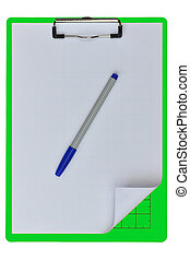 Green color writing boards with blue pen or support boards ...
