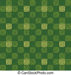 Green colored seamless square spiral pattern