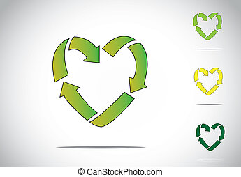 green colorful love or heart shaped recycling symbol icon...