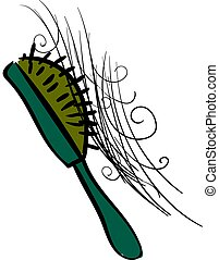 Green comb with hair, illustration, vector on white background.