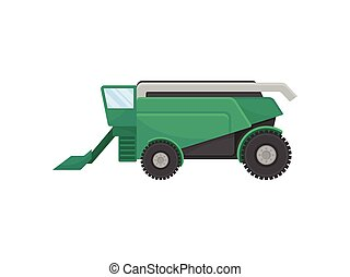 Green combine for harvesting grain. Vector illustration on white background.