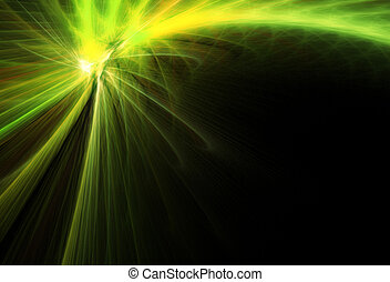 Green comet. Abstract illustration.