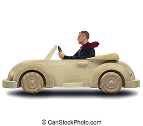 Green company car - Concept image of a businessman driving...