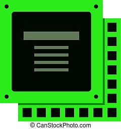 Green computer CPU processor chip icon isolated