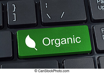 Green computer keyboard button with the word organic and leaf icon. Concept of ecology and organics.
