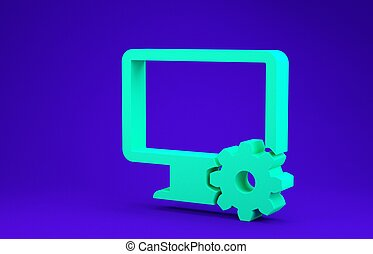 Green Computer monitor and gear icon isolated on blue background. Adjusting, service, setting, maintenance, repair, fixing. Minimalism concept. 3d illustration 3D render