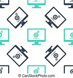 Green Computer monitor update process with gear progress and loading bar icon isolated seamless pattern on white background. Adjusting, setting, maintenance, repair.  Vector