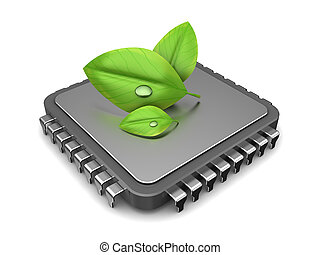 green computing - 3d illustration of computer chip and green...