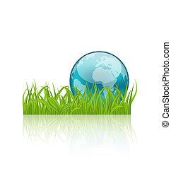 Green concept ecology background with grass and earth