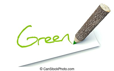 Green concept, ecology wooden pencil tree trunk - Green...