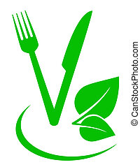 green concept vegetarian food sign with fork and knife